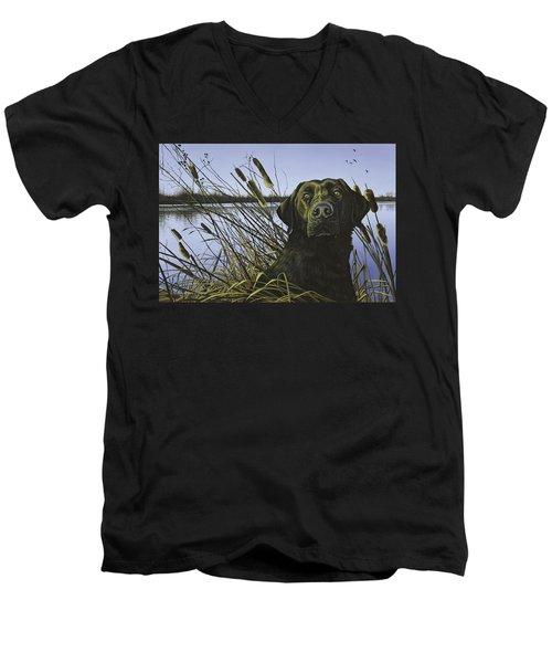 Anticipation - Black Lab Men's V-Neck T-Shirt