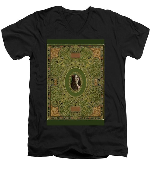 Antique Book Cover With Cameo - Green And Gold Men's V-Neck T-Shirt by Peggy Collins