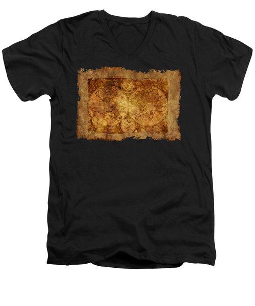 Antique Map Of The World Men's V-Neck T-Shirt