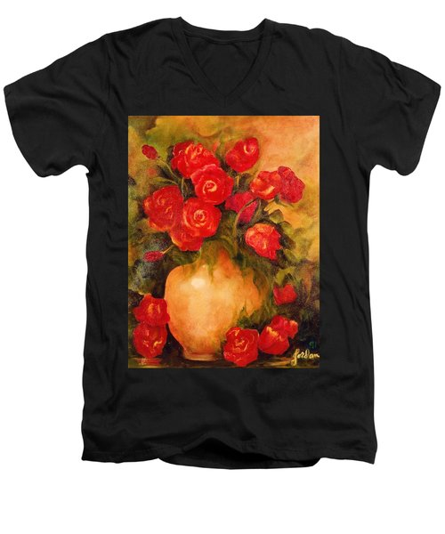 Antique Red Roses Men's V-Neck T-Shirt