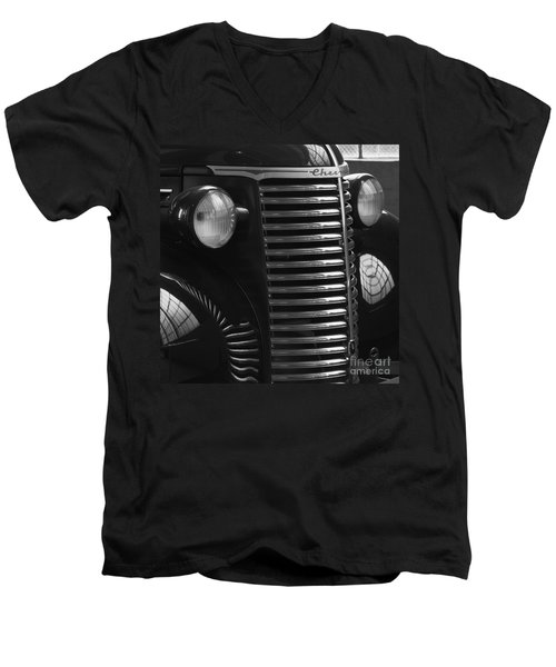 Antique Truck Black And White Men's V-Neck T-Shirt by Wilma  Birdwell