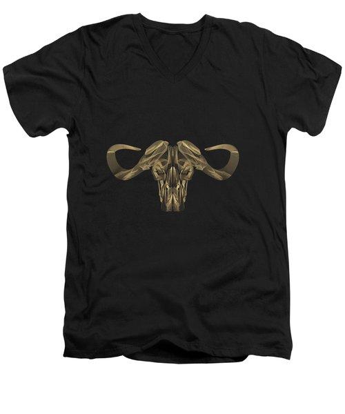 Horned Skulls - Gold Buffalo Skull X-ray Over Black Canvas No.1 Men's V-Neck T-Shirt