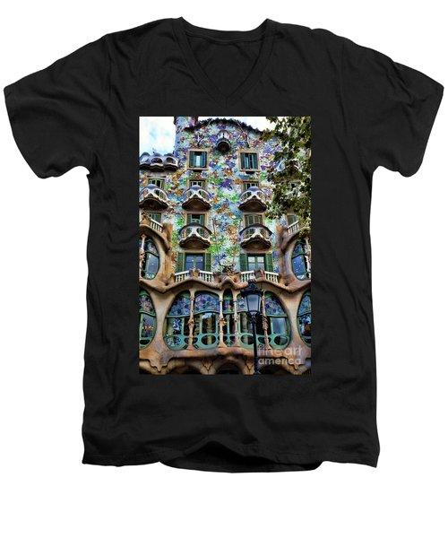 Antoni Gaudi's Casa Batllo Barcelona Spain  Men's V-Neck T-Shirt