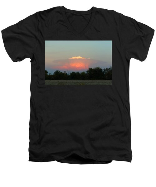 Men's V-Neck T-Shirt featuring the digital art Anvil Cloud Over Kirksville, Mo by Jana Russon