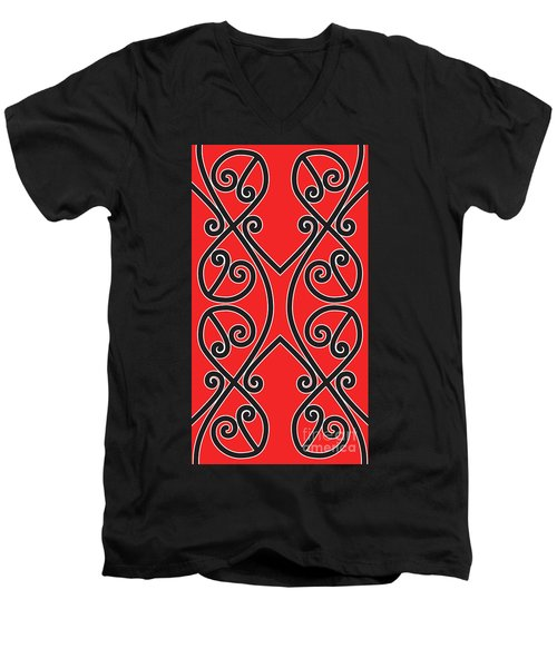Men's V-Neck T-Shirt featuring the digital art Aotearoa Koru by Brian Gibbs