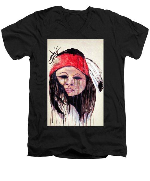 Men's V-Neck T-Shirt featuring the painting Watercolor Painting Of Apache Tears By Ayasha Loya by Ayasha Loya