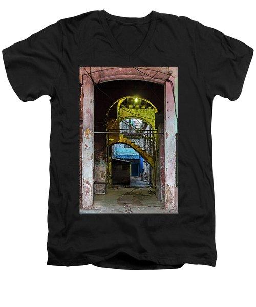 Men's V-Neck T-Shirt featuring the photograph Apartment Enrance Havana Cuba Near Calle C by Charles Harden