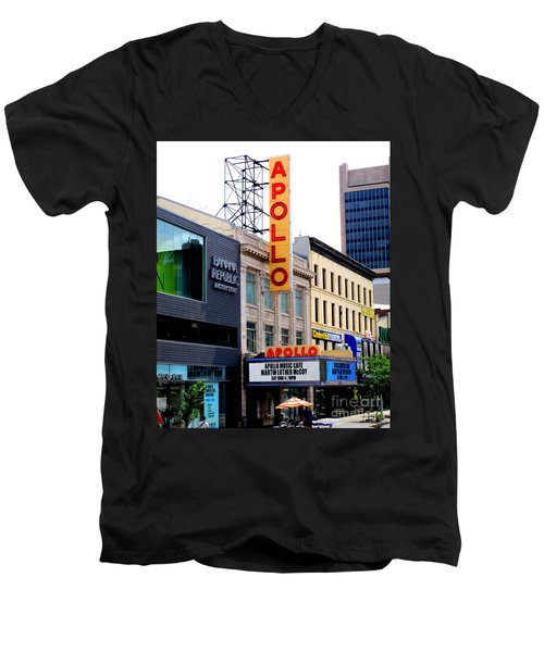 Men's V-Neck T-Shirt featuring the photograph Apollo Theater by Randall Weidner