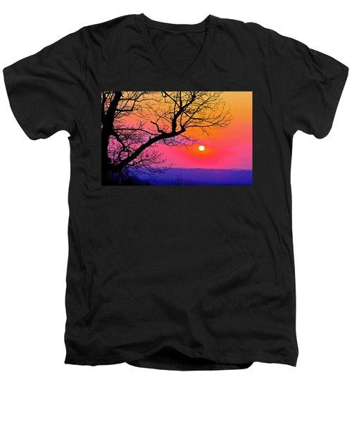 Appalcahian Sunset Tree Silhouette  #1 Men's V-Neck T-Shirt