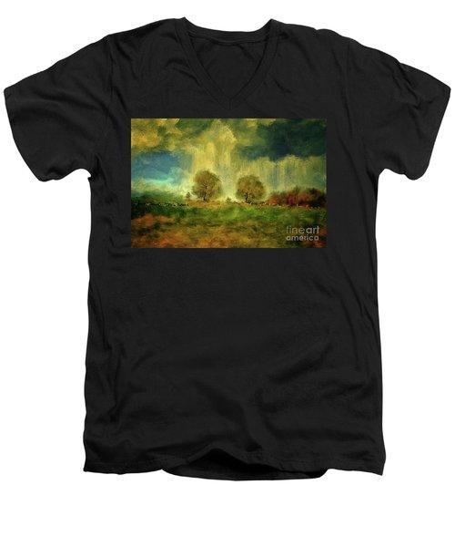 Men's V-Neck T-Shirt featuring the digital art Approaching Storm At Antietam by Lois Bryan
