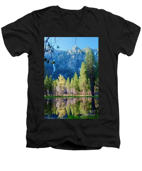 April Reflection Men's V-Neck T-Shirt by Loriannah Hespe