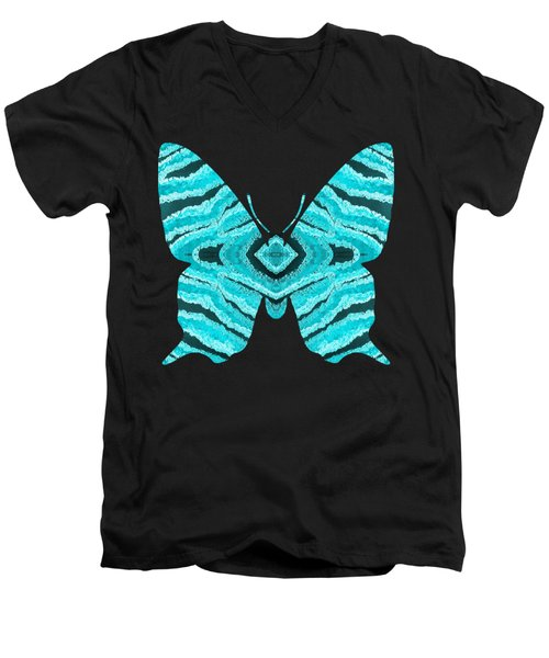 Aqua Blue Butterfly  Men's V-Neck T-Shirt