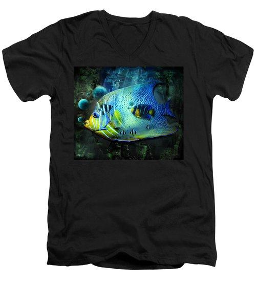 Aqua Fantasy Art World Men's V-Neck T-Shirt