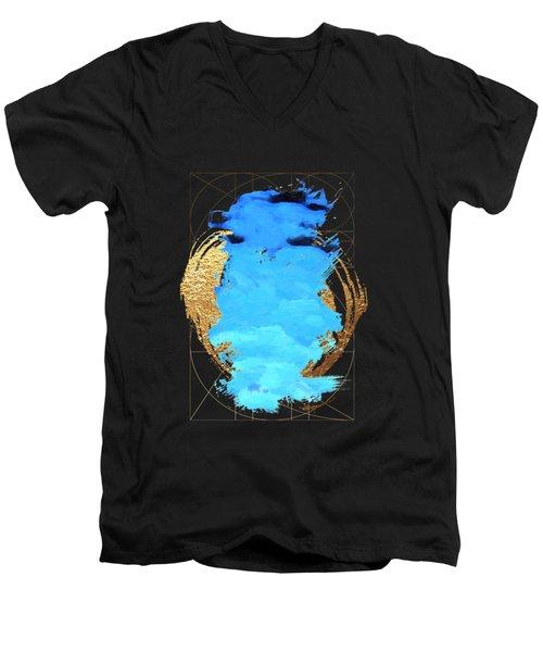 Men's V-Neck T-Shirt featuring the digital art Aqua Gold No. 1 by Serge Averbukh