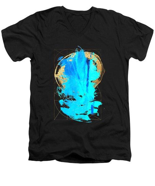 Men's V-Neck T-Shirt featuring the digital art Aqua Gold No. 4 by Serge Averbukh