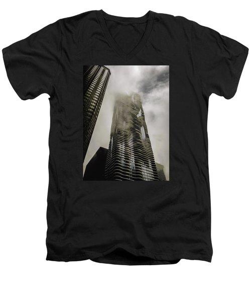 Aqua Skyscraper Men's V-Neck T-Shirt