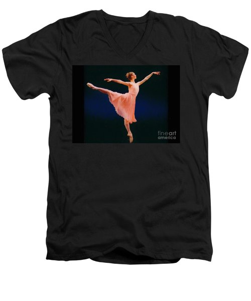 Men's V-Neck T-Shirt featuring the painting Arabesque by Rosario Piazza
