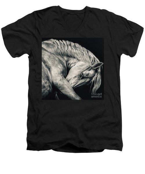 Arabian Beauty White Horse Portrait Men's V-Neck T-Shirt