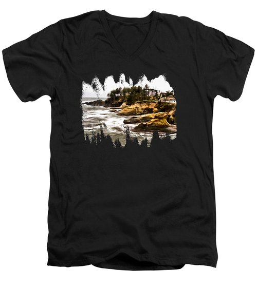 Arch Rock Depoe Bay Men's V-Neck T-Shirt by Thom Zehrfeld