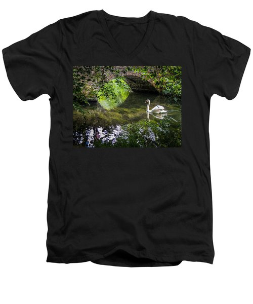 Arched Bridge And Swan At Doneraile Park Men's V-Neck T-Shirt