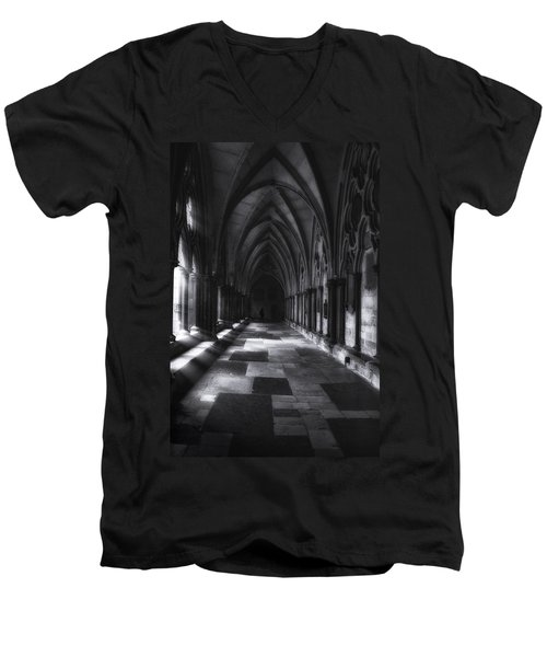 Men's V-Neck T-Shirt featuring the photograph Arched Corridor by Andrew Soundarajan