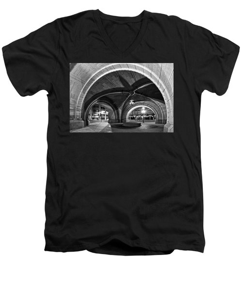 Arched In Black And White Men's V-Neck T-Shirt