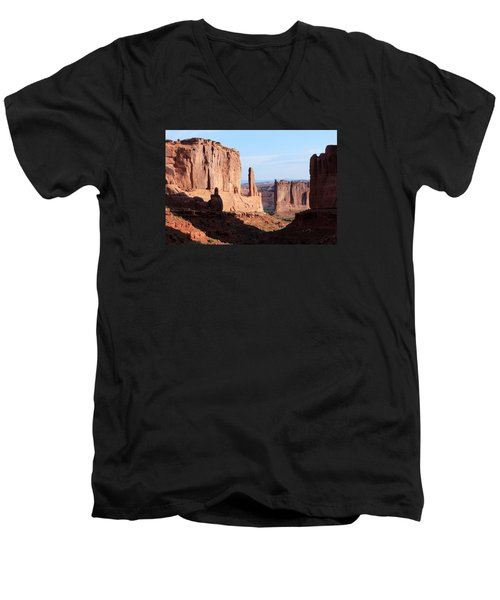 Men's V-Neck T-Shirt featuring the photograph Arches Morning by Elizabeth Sullivan