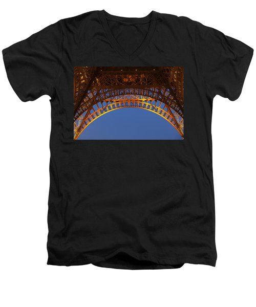 Men's V-Neck T-Shirt featuring the photograph Arches Of The Eiffel Tower by Andrew Soundarajan