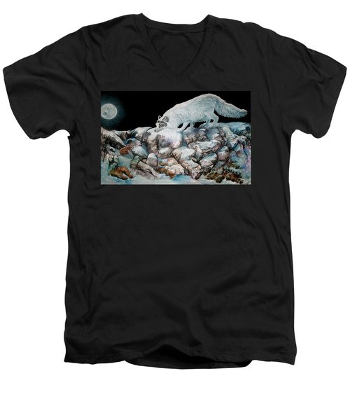 Men's V-Neck T-Shirt featuring the painting Arctic Encounter by Sherry Shipley