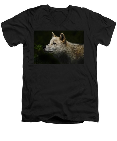 Men's V-Neck T-Shirt featuring the photograph Arctic Wolf Portrait by Michael Cummings
