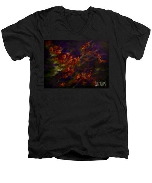 Men's V-Neck T-Shirt featuring the digital art Ardor by Amyla Silverflame