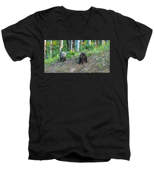 Men's V-Neck T-Shirt featuring the photograph Are You Coming With Me by Yeates Photography