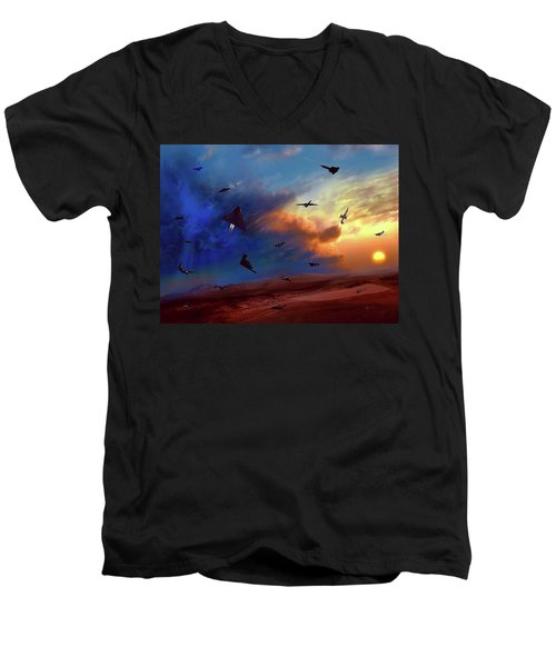 Men's V-Neck T-Shirt featuring the painting Area 51 Groom Lake by Dave Luebbert
