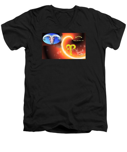 Men's V-Neck T-Shirt featuring the painting Aries by The Art of Alice Terrill