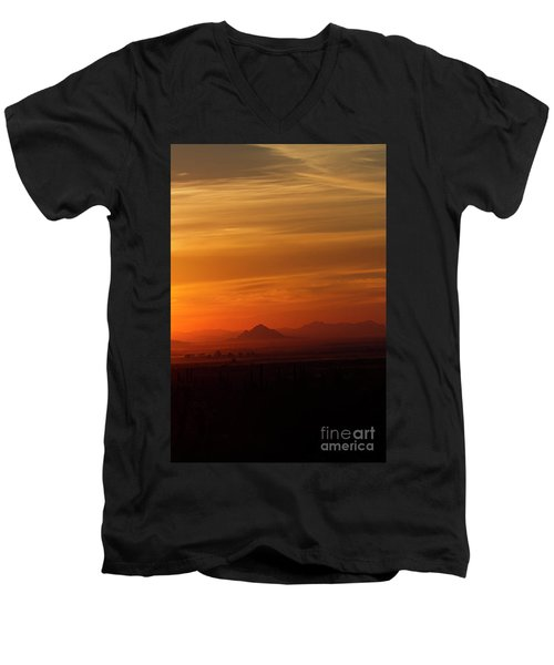 Men's V-Neck T-Shirt featuring the photograph Arizona Sunrise by Anne Rodkin