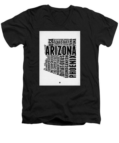 Arizona Word Cloud Map 2 Men's V-Neck T-Shirt by Naxart Studio