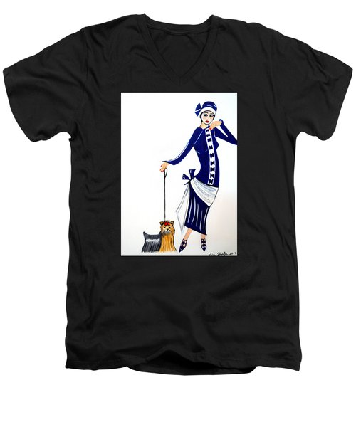 Art Deco  Diane 1920's Men's V-Neck T-Shirt