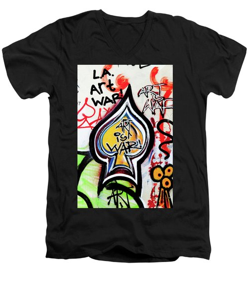 Men's V-Neck T-Shirt featuring the photograph Art Is War by Art Block Collections