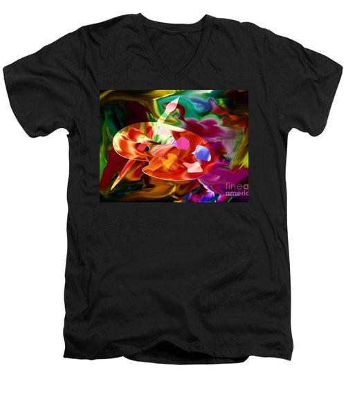 Artist Palette In Neon Colors Men's V-Neck T-Shirt