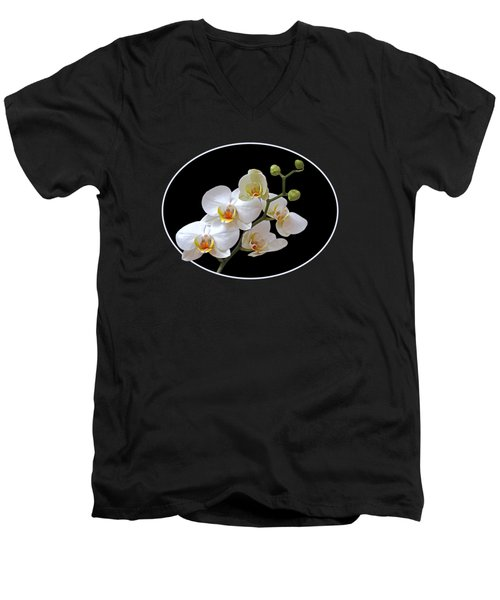 White Orchids On Black Men's V-Neck T-Shirt