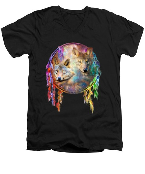 Dream Catcher - Wolf Spirits Men's V-Neck T-Shirt by Carol Cavalaris