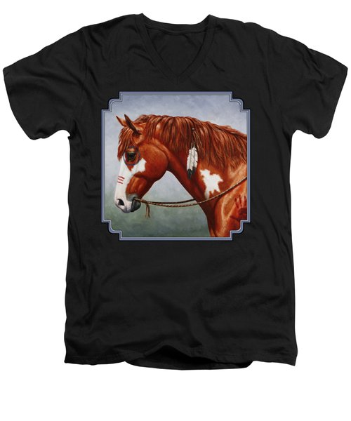 Native American War Horse Men's V-Neck T-Shirt by Crista Forest