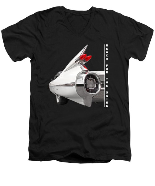 Reach For The Skies - 1959 Cadillac Tail Fins Black And White Men's V-Neck T-Shirt by Gill Billington