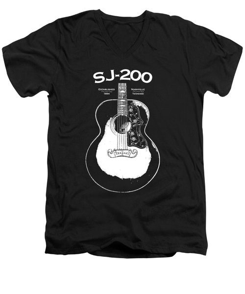 Gibson Sj-200 1948 Men's V-Neck T-Shirt by Mark Rogan
