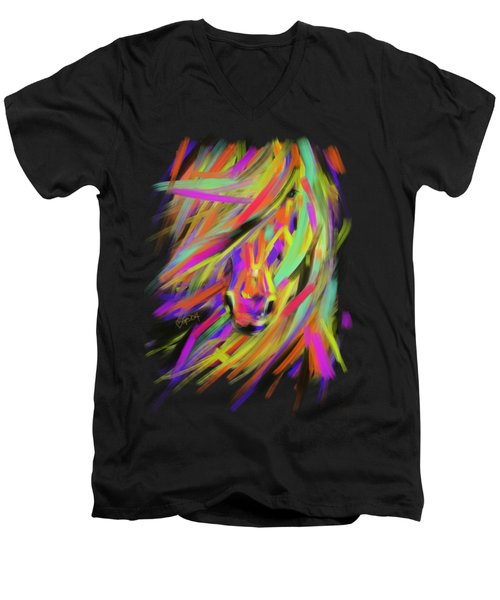 Horse Rainbow Hair Men's V-Neck T-Shirt