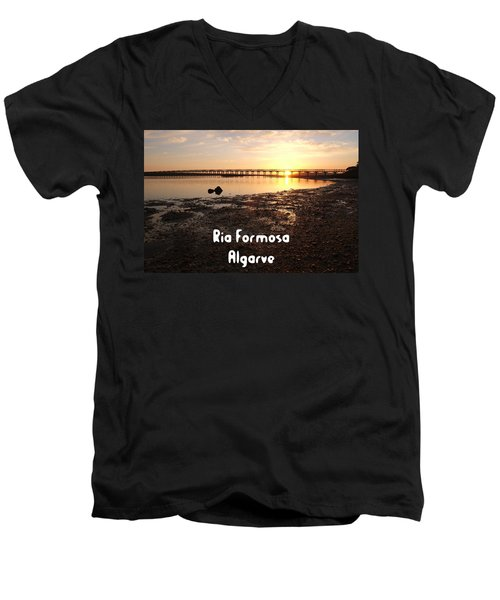 Sunset And Wooden Bridge In Ludo Men's V-Neck T-Shirt