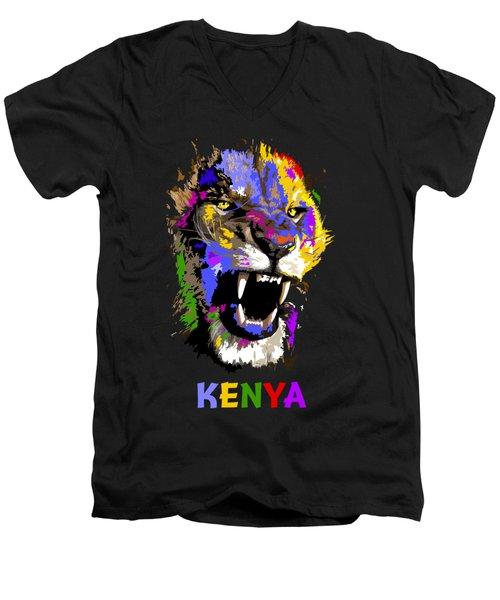 Cat Snarl Men's V-Neck T-Shirt by Anthony Mwangi
