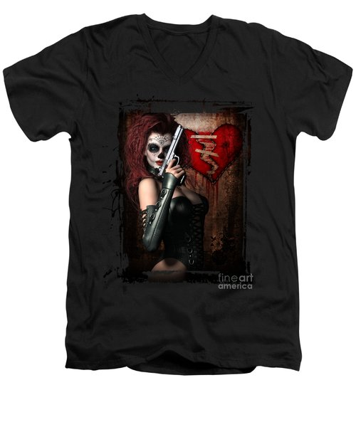 Men's V-Neck T-Shirt featuring the digital art Sugar Doll Long Night Of The Dead by Shanina Conway