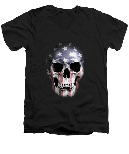 American Skull Men's V-Neck T-Shirt by Nicklas Gustafsson
