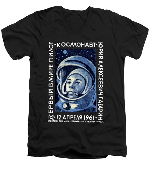 1961 First Man In Space, Yuri Gagarin Men's V-Neck T-Shirt by Historic Image